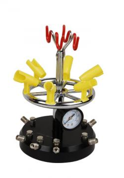 Supporto da tavolo rotante per 8 aerografi con manometro - Meccanismo rotante per tavolo ...